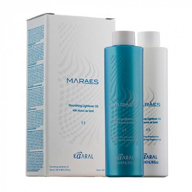 Осветляющее и увлажняющее масло для волос с маслом Моной де Таити 200+200 мл, Kaaral Maraes Nourishing Lighten