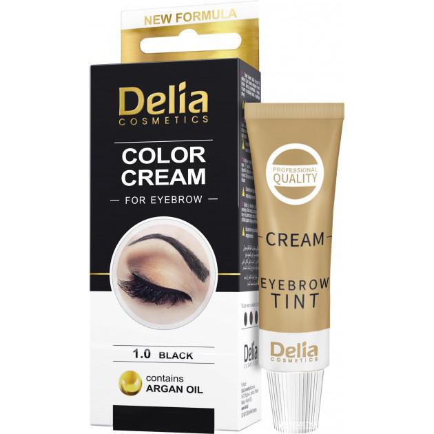 Крем-краска для бровей с аргановым маслом Черная Delia cosmetics 15 мл