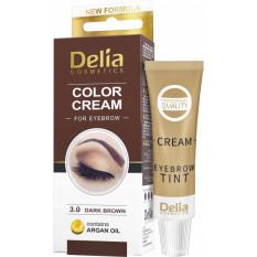 Крем-краска для бровей с аргановым маслом Темно-коричневая Delia cosmetics 15 мл