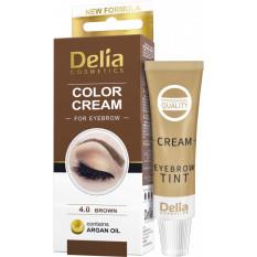 Крем-краска для бровей с аргановым маслом Коричневая Delia cosmetics 15 мл