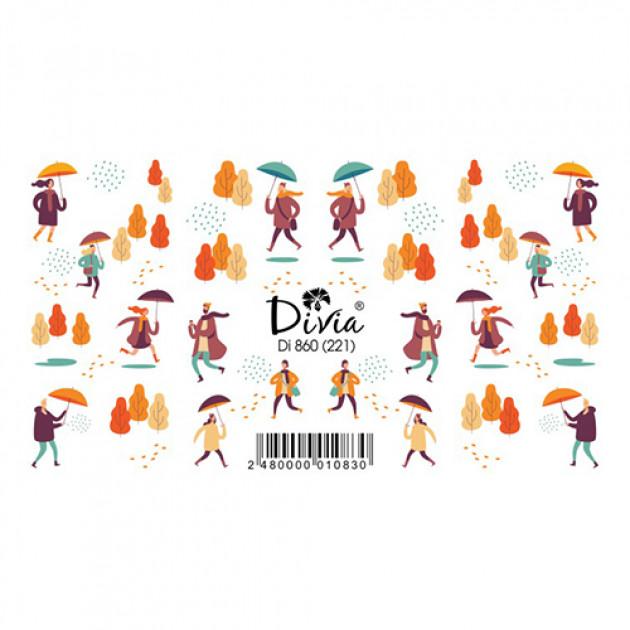 """Наклейки на ногти """"Слайдер"""" Di860 [221] (2713) (осінь) Divia"""