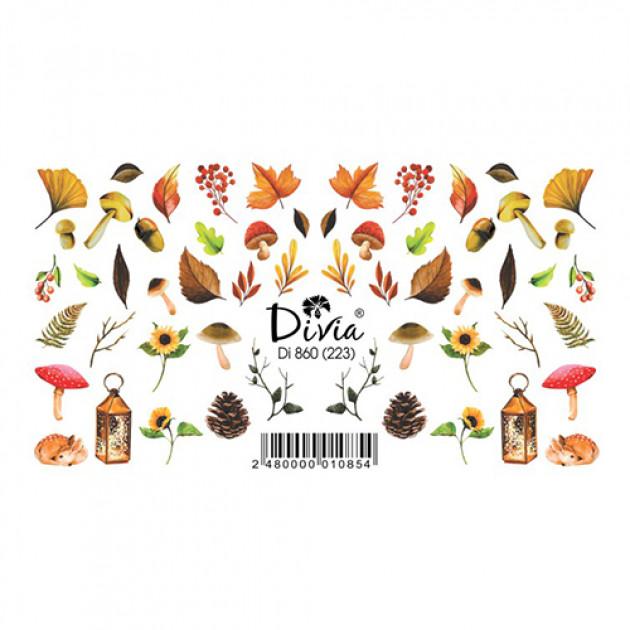 """Наклейки на ногти """"Слайдер"""" Di860 [223] (2710) (осінь) Divia"""