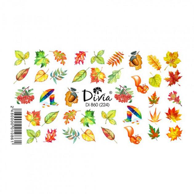 """Наклейки на ногти """"Слайдер"""" Di860 [224] (2703) (осінь) Divia"""