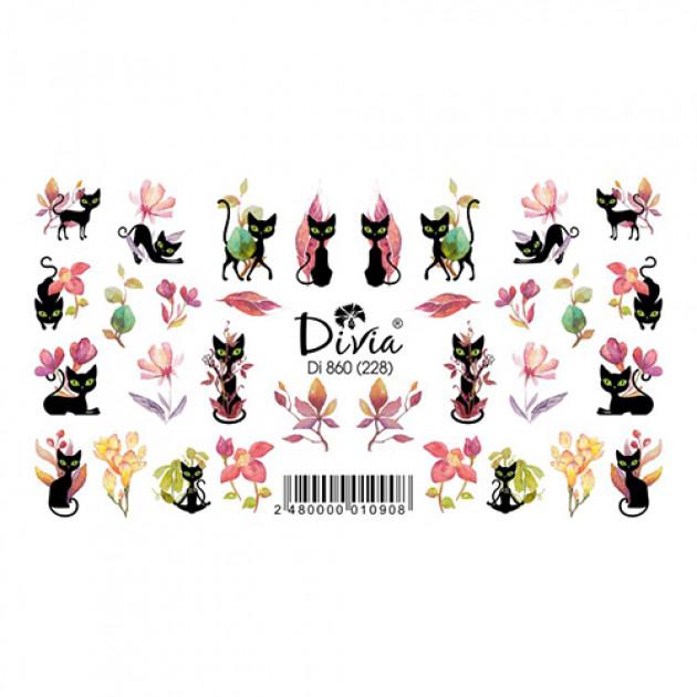 """Наклейки на ногти """"Слайдер"""" Di860 [228] (2735) (осінь) Divia"""