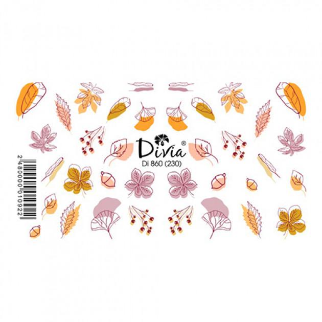 """Наклейки на ногти """"Слайдер"""" Di860 [230] (2729) (осінь) Divia"""