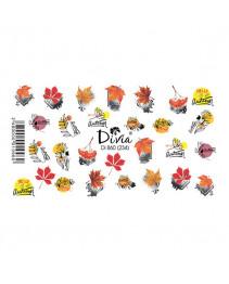 """Наклейки на ногти """"Слайдер"""" Di860 [234] (2215) (осінь) Divia"""