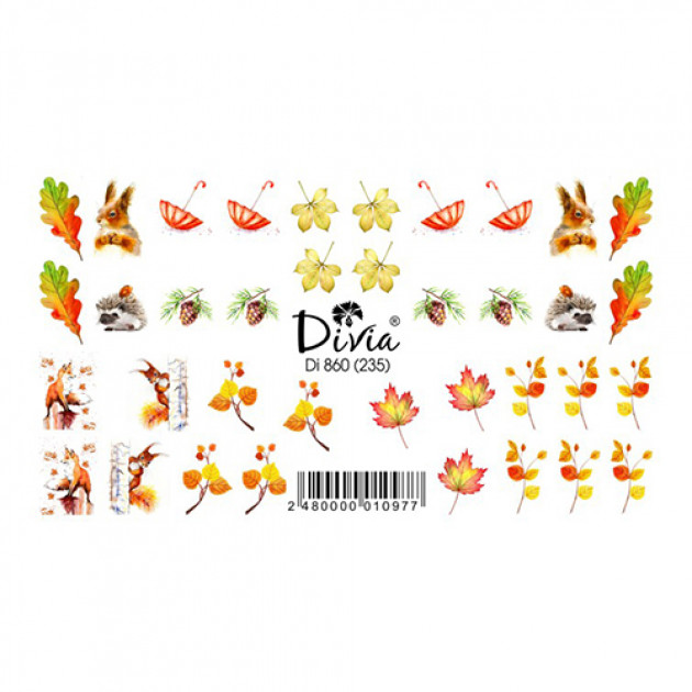 """Наклейки на ногти """"Слайдер"""" Di860 [235] (2115) (осінь) Divia"""