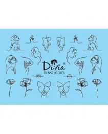 """Наклейки на ногти """"Комби"""" Di862 [С010] Divia"""