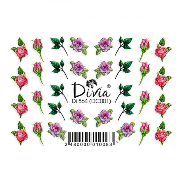 "Наклейки на ногти ""3D"" Di864 [DC001] Divia"