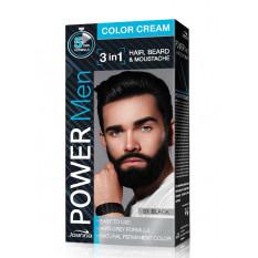 Стойкая краска 3 в 1 для волос, бороды и усов (черная) Joanna Power Man Color