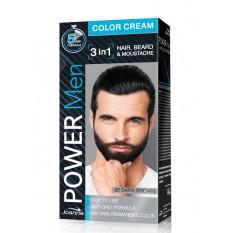 Стойкая краска 3 в 1 для волос, бороды и усов (темно-коричневая) Joanna Power Man Color