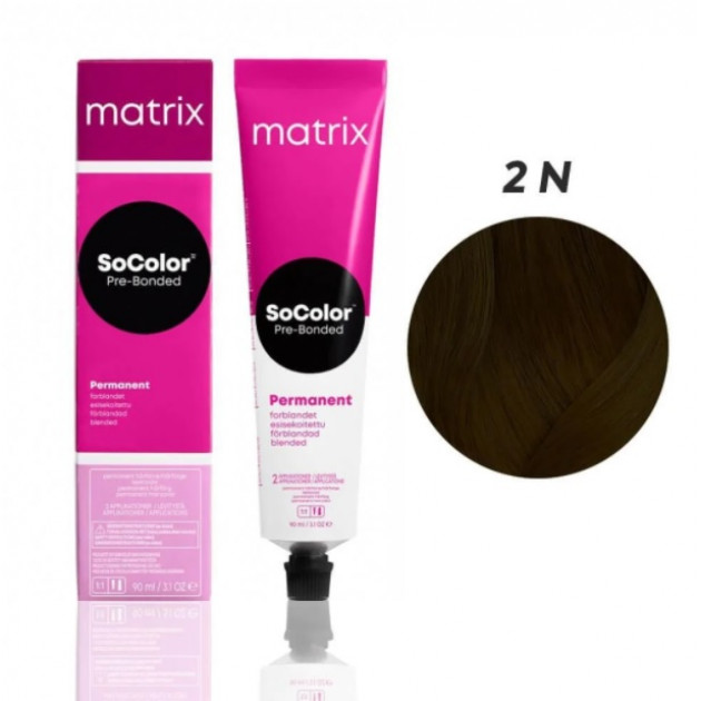 Краска для волос 2N темный шатен Matrix Socolor Beauty Pre-Bonded 90 мл