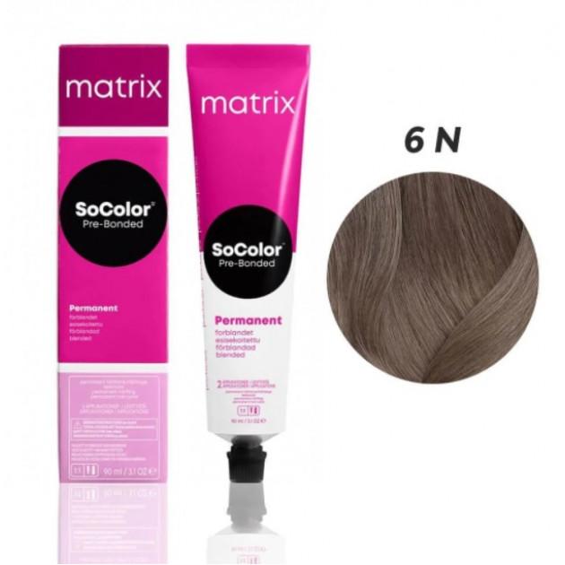 Краска для волос 6N темный шатен Matrix Socolor Beauty Pre-Bonded 90 мл