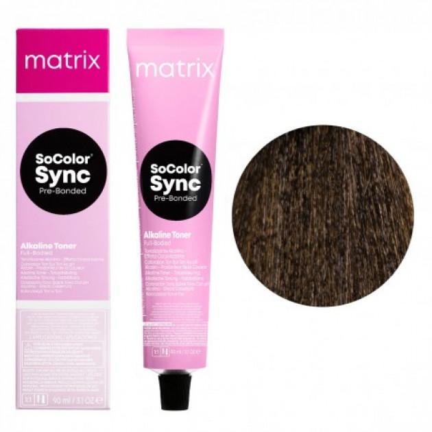 Краска для волос без аммиака 6A темный блондин пепельный Matrix Socolor Sync Pre-Bonded 90 мл