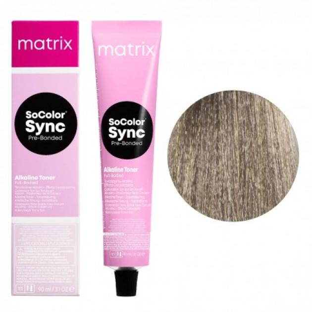 Краска для волос без аммиака 8A светлый блондин пепельный Matrix Socolor Sync Pre-Bonded 90 мл