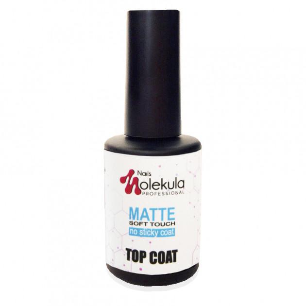Топ матовый для гель-лака без липкого слоя Top MATTE soft touch Nails Molekula 12 мл