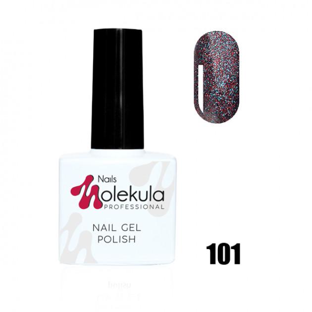 Гель-лак Gel Polish №101 Красно голубое мерцание Nails Molekula 11 мл