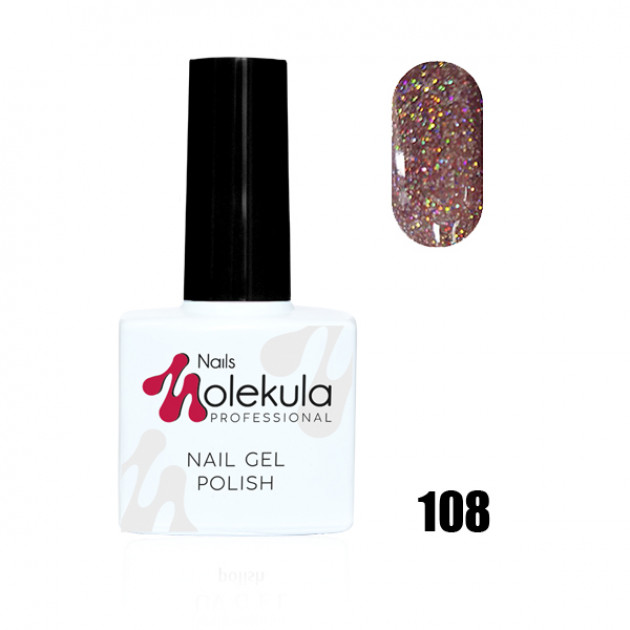 Гель-лак Gel Polish №108 Искрящий розовый Nails Molekula 11 мл