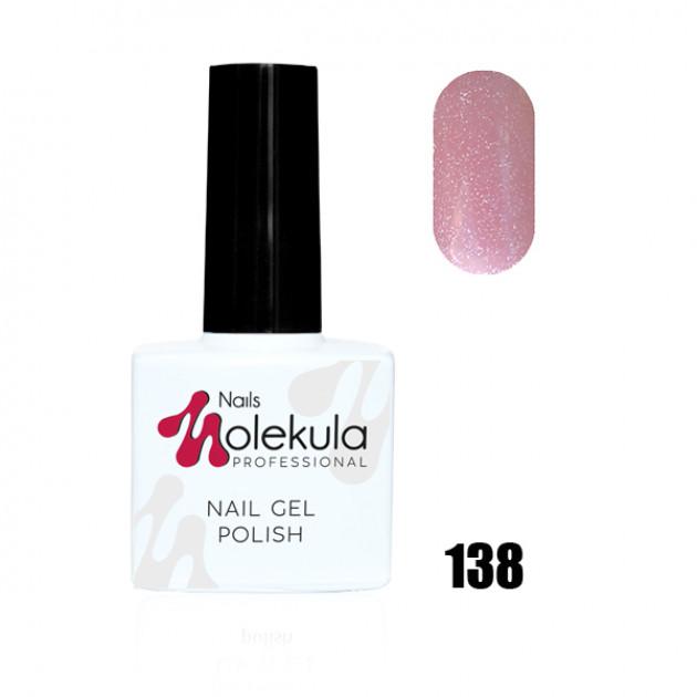 Гель-лак Gel Polish №138 Розовый с голографическими блестками Nails Molekula 11 мл