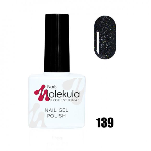 Гель-лак Gel Polish №139 Черный с голографическими блестками Nails Molekula 11 мл