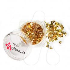 Заклепки металлические треугольник золото Nails Molekula 100 шт