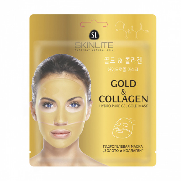 Гидрогелевая маска для лица Золото и коллаген Skinlite Hyaluronic Gold & Collagen Pearl Face Mask