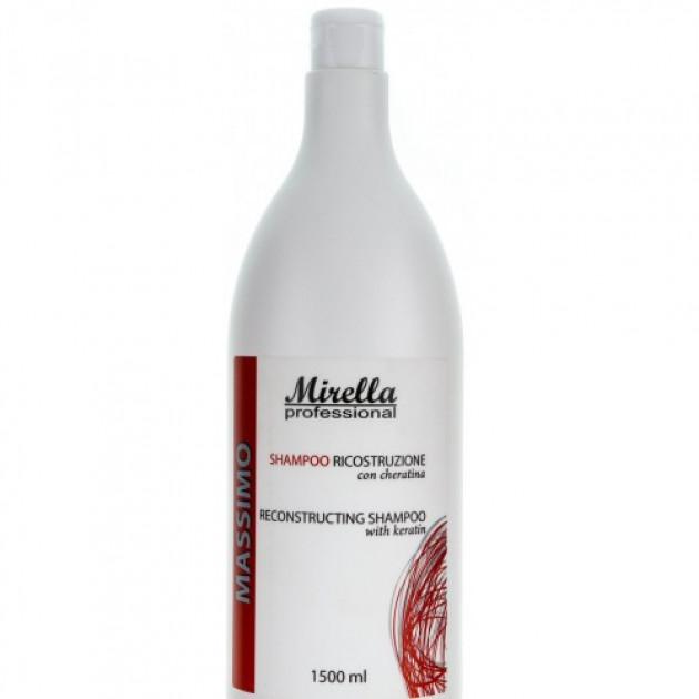 Восстанавливающий шампунь с кератином 1500 мл, Mirella Hair Care Reconstructing Shampoo