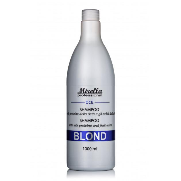 Шампунь для светлых, седых и обесцвеченных волос 1000 мл, Mirella Blond Shampoo