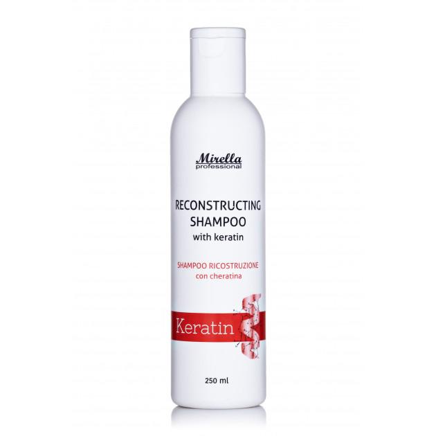 Восстанавливающий шампунь с кератином 500 мл, Mirella Hair Care Reconstructing Shampoo